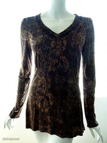 CALVIN KLEIN JEANS Brown Graphic Print V-Neck Tunic Top - Size Medium