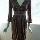 CITY TRIANGLES Brown & Tan Abstract Geometric Print Tie-Back Dress - Size Medium