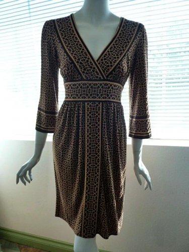 CITY TRIANGLES Brown & Tan Abstract Geometric Print Tie-Back Dress - Size Medium