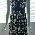 ANN TAYLOR LOFT PETITES Sleeveless Black & White Jacquard Print Dress - Size 0P