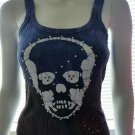 BEBE Blue & Brown Rhinestone Studded Skull Cotton Tank Top - Size Medium