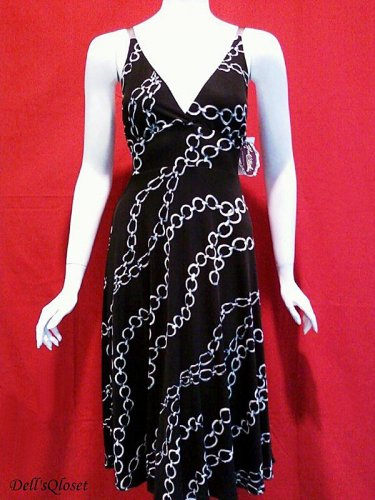*NWT* HALE BOB Black & Gray Chain Link Print Sleeveless Silk Dress - Extra Small