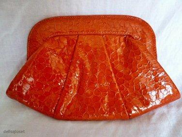 """*NWOT* LAUREN MERKIN """"Lucy"""" Orange Croc-Embossed Leather Clutch Bag"""