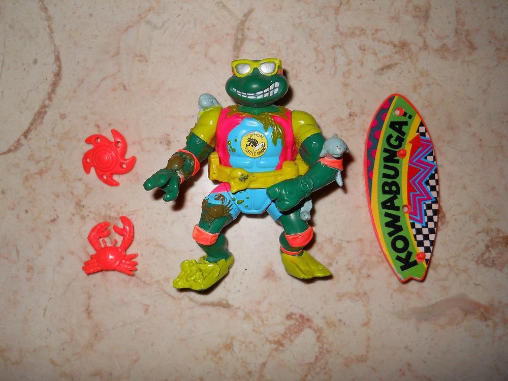 Mike The Sewer Surfer - Playmates - 1990 - Teenage Mutant Ninja Turtles - Complete