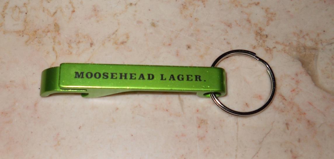 Moosehead Lager - Green Aluminum Bottle Opener & Keychain - New