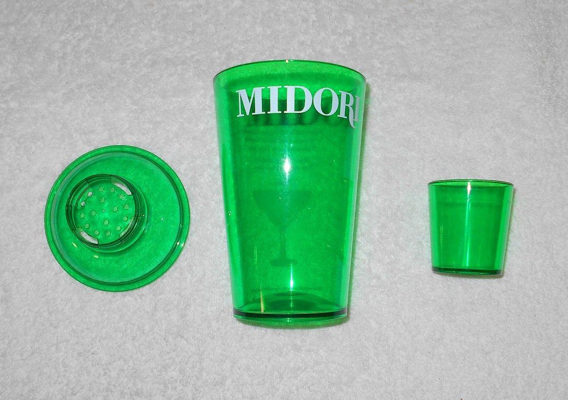 Midori - 3 Piece Beverage Set - Mixer, Strainer & Shot Glass - Green Plastic - New