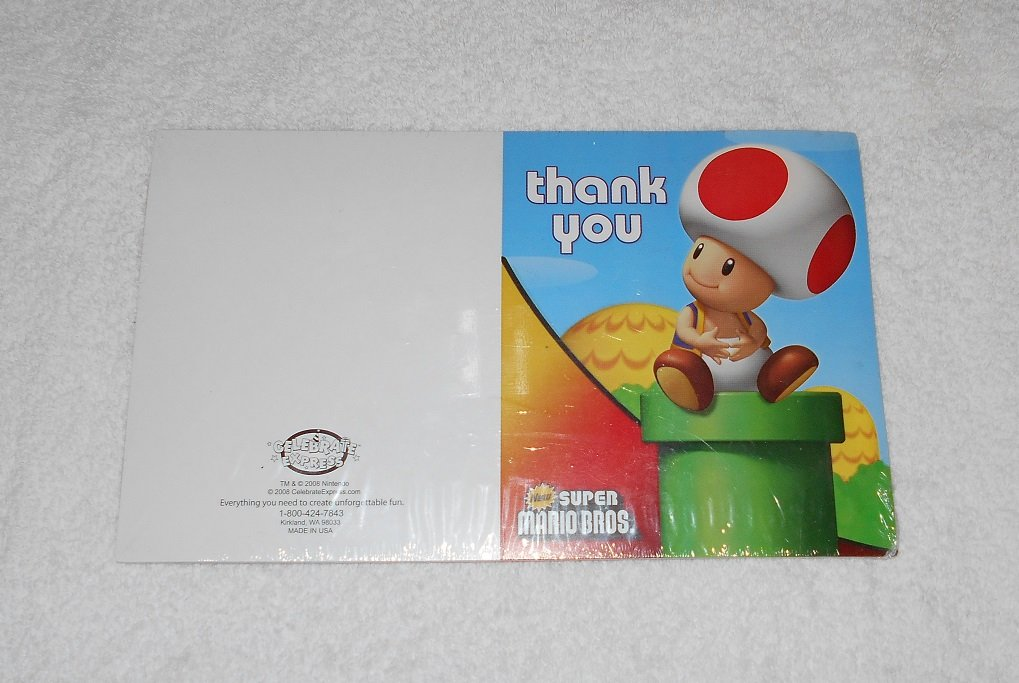 Super Mario Brothers - Thank You Cards - Nintendo - 2008 - New