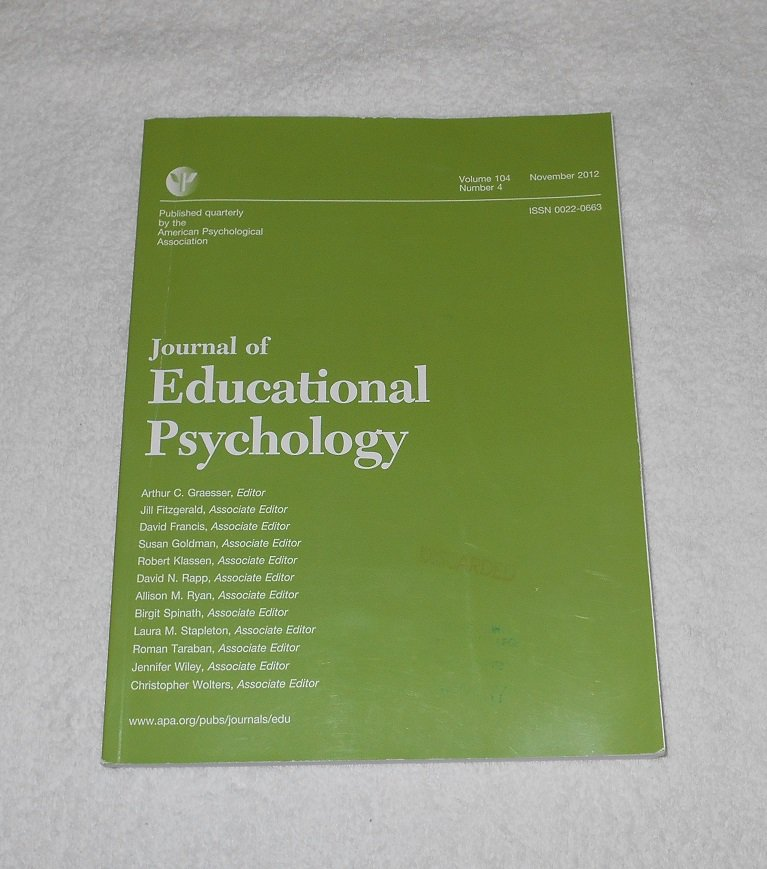Journal Of Educational Psychology - Vol 104 - Num 4 - Nov 2012 - ISSN 0022-0663