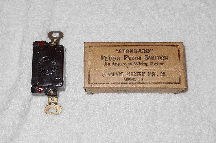 Standard Electric - Flush Push Switch - #5001 SB - Brown Bakelite - Vintage