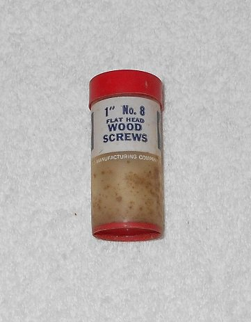 "Holland Manufacturing - 1"" #8 Flat Head Wood Screws - Plastic Container Only - Vintage"
