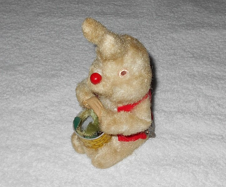 Wind Up Rabbit Doll - White With Red Vest - Japan - Vintage