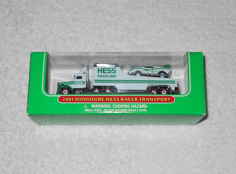 Hess - Miniature Racer Transport - 2001 - White & Green - New