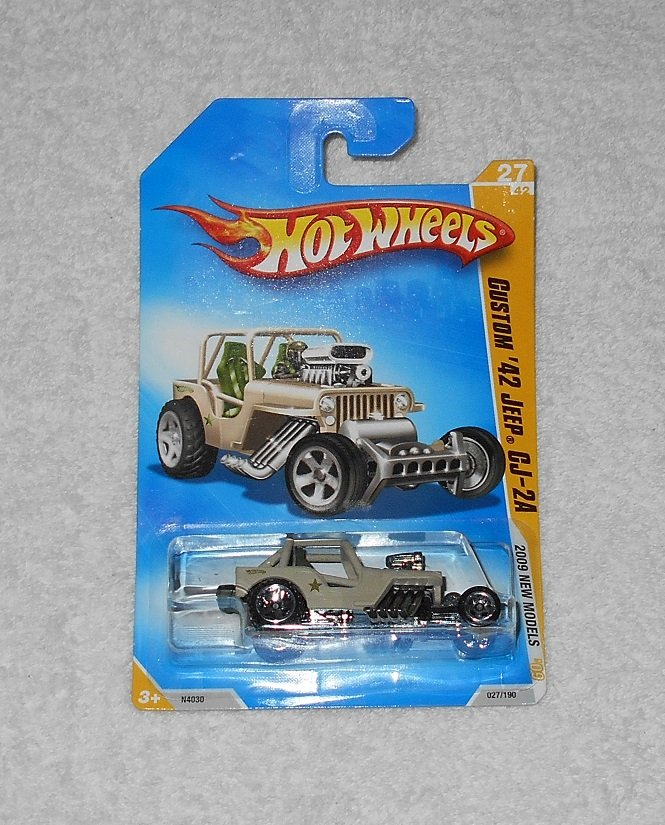 Hot Wheels - Custom '42 Jeep CJ-2A - #27 - Tan - 2009 - New