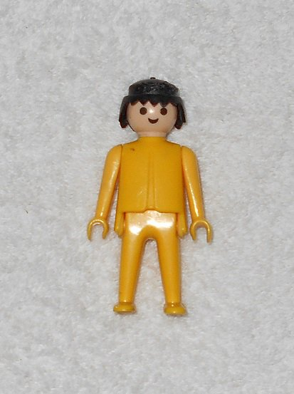Playmobil - Yellow Figure With Black Hair - Vintage