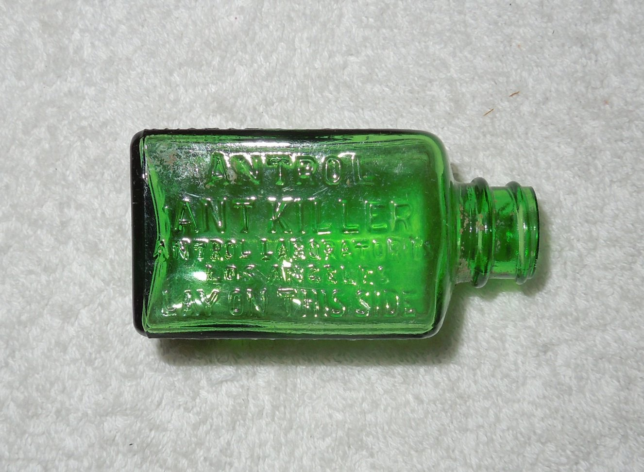 Antrol - Ant Killer - Empty Green Glass Bottle - Lid Missing - Needs To Be Cleaned