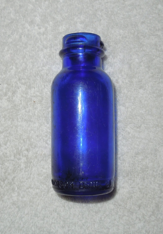 Emerson Drug Co - Bromo-Seltzer - Small Empty Blue Glass Bottle