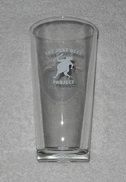 The Just Beer Project - Tall Pint Glass - Clear w/ Logo - Libbey Duratuff - 20 Ounce