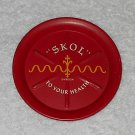 Metal Ashtray - To Your Health - Skol - Swedish - Red