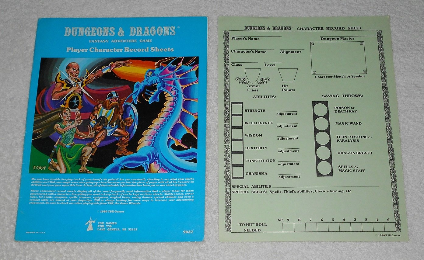 Player Character Record Sheets - Dungeons & Dragons - TSR 9037 ...