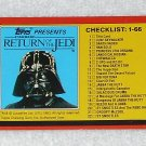 Checklist I - Card # 131 - Star Wars - Return Of The Jedi - Topps - 1983