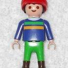 Playmobil - Farmer Boy w/ Hat - Blue Torso / Green Legs - Part # 30101330 - From 3124 Farm Set 2001
