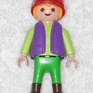 Playmobil - Tourist Boy w/ Red Hat - Green Torso w/ Purple Vest / Green Legs - From 3238 Monkey 2003