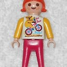 Playmobil - Be Free Girl - White Torso w/ Yellow Arms & Koala On Bicycle Logo / Pink Legs