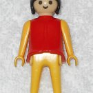 Playmobil - Red & Yellow Woman - Red Torso With Yellow Arms / Yellow Legs / Black Hair - Vintage