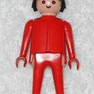 Playmobil - Red Man - Red Torso / Red Legs / Black Hair - Vintage