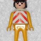 Playmobil - Construction Worker w/ Helmet & Vest - Yellow Torso / Yellow Legs / Black Hair - Vintage