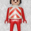 Playmobil - Construction Worker w/ Hat & Vest - Red Torso / Red Legs / Black Hair - Vintage