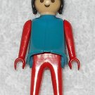 Playmobil - Blue & Red Woman - Blue Torso With Red Arms / Red Legs / Black Hair - Vintage