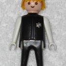 Playmobil - Sheriff w/ Black Hat - Black Torso w/ Badge & White Arms / Black Legs - Vintage