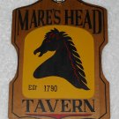 Mare's Head Tavern - Painted Wooden Sign - Made In Japan - Vintage