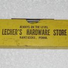 Lecher's Hardware Store - Wooden Spirit Level / Ruler - Yellow - Nanticoke PA - Vintage