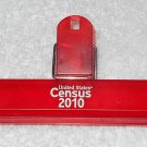 United States Census 2010 - Large Plastic Clip - Red With White Lettering