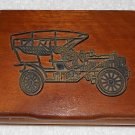 Wooden Valet Box With Metal Antique Car Emblem - Two Compartments