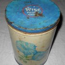 Wise Potato Chips - Cylindrical Tin Container w/ Blue & Pink Floral Pattern - 1951 - Container Only