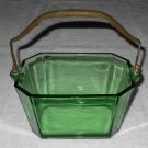 Heisey - Octagonal Green Glass Basket w/ Metal Handle w/ Hammered Bronze Finish - Vintage