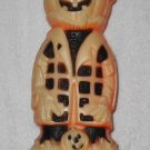 Pumpkin Man Scarecrow With Plaid Shirt - Halloween Decoration - Molded Plastic - Vintage