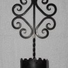 Wrought Iron Candle Sconce - Pointed Ends - Scrolls - Holds 4 Inch Diameter Candle - Black - Vintage