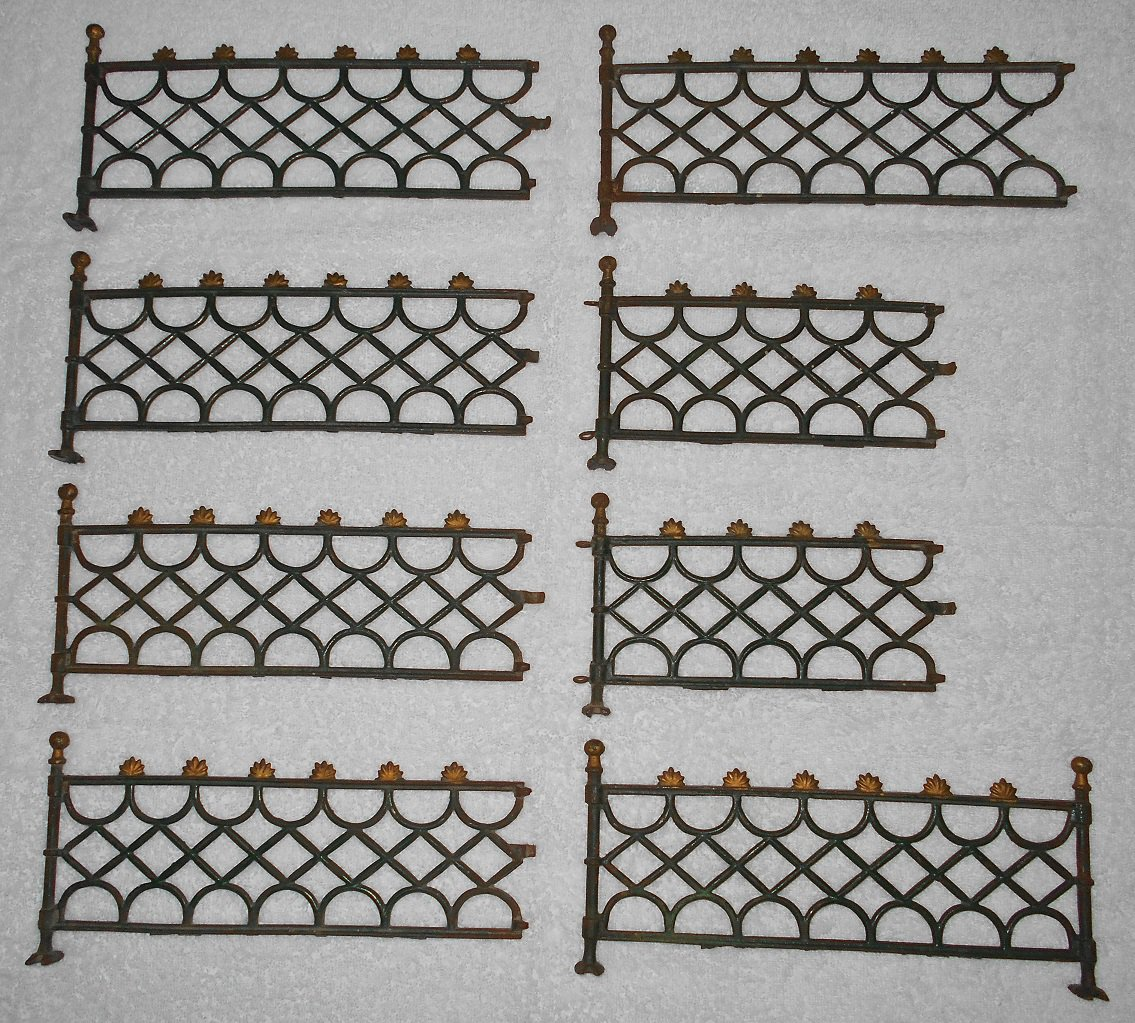 Wrought Iron Miniature Fence - Ball Post Caps - Shell Finials - 8 Pieces - Green & Gold - Vintage