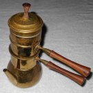 Neapolitan Flip Coffee Pot - Hammered Brass - Tin Strainers - Wood Handles - Made In Italy - Vintage