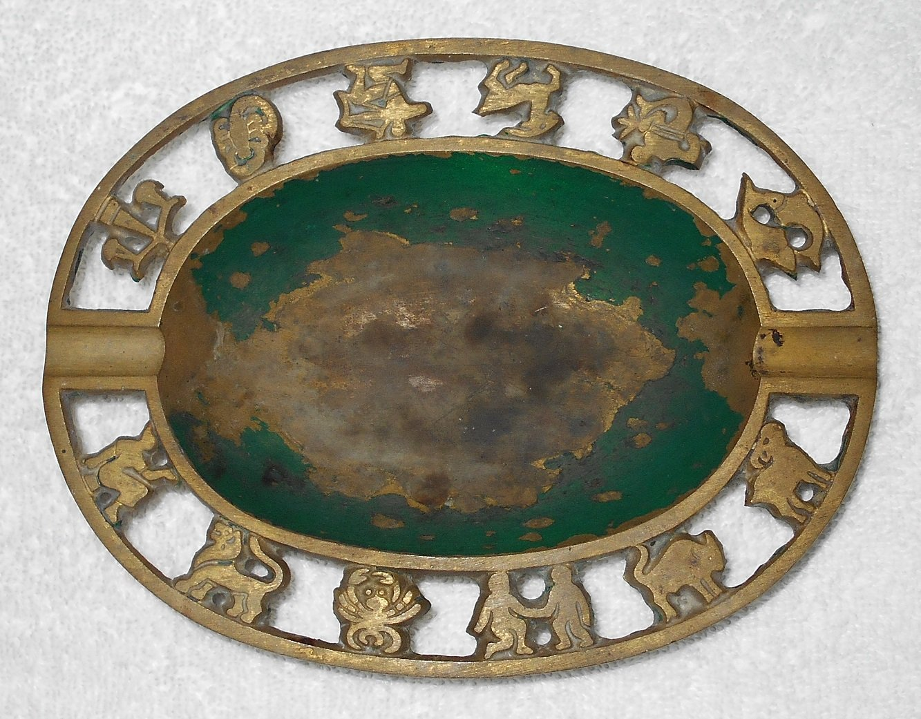 Brass Ashtray With Astrological Zodiac Signs - Made In Israel - Vintage