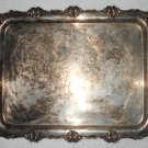 Hartford Sterling Co - Silver Plated Serving Tray w/ Handles - Floral Border Pattern - Vintage