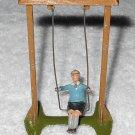 Britains Ltd - Boy On Swing - Blue Shirt - Lead Figure & Frame - Original Paint - Vintage