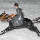 Britains Ltd - Lady With Grey Coat Riding Black Horse - Lead - Original Paint - Vintage