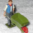 Britains Ltd - Man With Blue Vest Pushing Wheelbarrow - Lead - Original Paint - 011 - Vintage