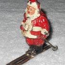 Barclay - Santa On Skis - Incomplete - One Pole Missing - Lead - Original Paint  - Vintage