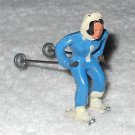 Barclay - Woman In Blue Skiing - Incomplete - Both Skis Missing - Lead - Original Paint - Vintage